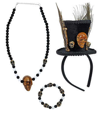 VOODOO PRIEST (mini hat,skulls n/lace,beaded skulls b/let)