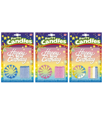 16 HAPPY BIRTHDAY CANDLES - 3 colours