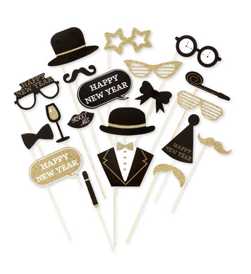 PHOTO BOOTH NEW YEAR'S EVE ACCESSORIES 20 pcs in window box