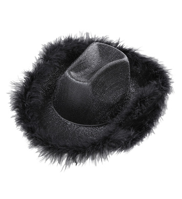 COWGIRL HAT BLACK LUREX (with marabou trim)