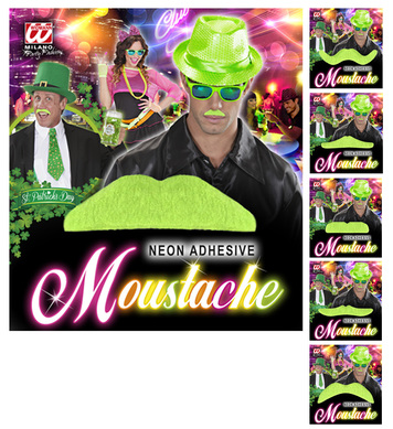 MOUSTACHE - NEON GREEN - 6 styles assorted