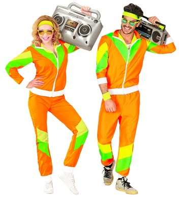 80s SHELL SUIT - Orange/Green (jacket, pants)