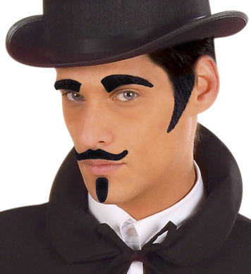 EYEBROWS SIDEBURNS TASH GOATEE - BLACK