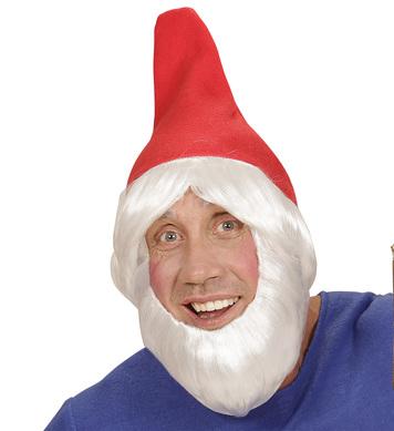 GARDEN GNOME HAT W/WIG BEARD - RED