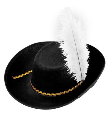 FELT MUSKETEER HAT W/FEATHERS - BLACK