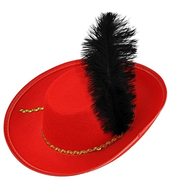 FELT MUSKETEER HAT W/FEATHERS - RED