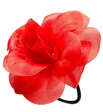 FLOWER HAIR TIE/BAND - RED