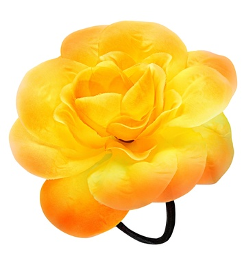 FLOWER HAIR TIE/BAND - YELLOW
