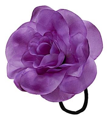 FLOWER HAIR TIE/BAND - PURPLE