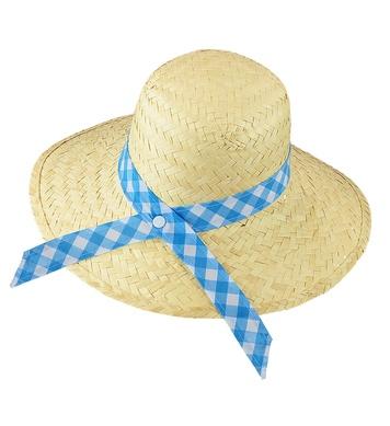 STRAW FARMERS DAUGHTER HAT - BLUE RIBBON