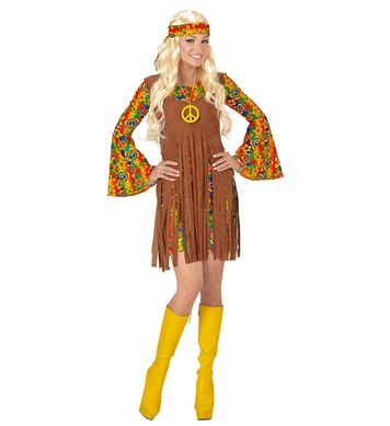 HIPPIE GIRL (XXXL) (dress w/vest h/band peace sign necklace)