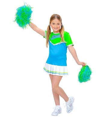 CHEERLEADER green/light blue (dress, 2 pom poms) Childrens