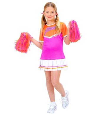 CHEERLEADER orange/pink (dress, 2 pom poms) Childrens
