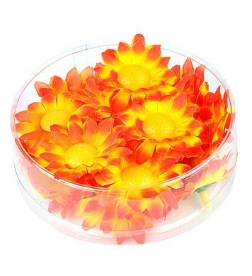 BOX OF 20 DECORATIVE DAISY FLOWERS - ORANGE/YELLOW