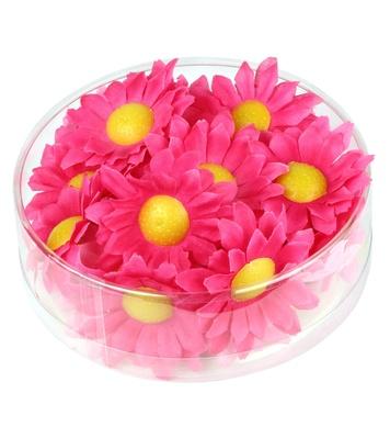 BOX OF 20 DECORATIVE DAISY FLOWERS - FUCHSIA