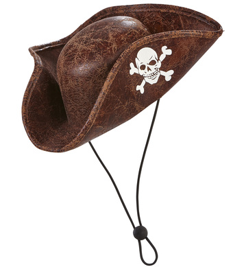 LEATHER LOOK MINI PIRATE TRICORN