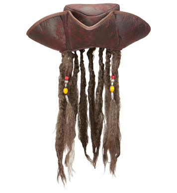 LEATHER LOOK PIRATE TRICORN WITH DREADLOCKS