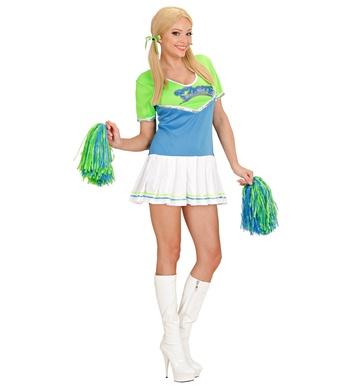 CHEERLEADER - Green/Light Blue (dress, 2 pom poms)