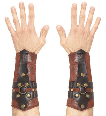 LEATHER LOOK ROMAN/GREEK ARM GUARDS