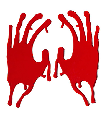 BLOODY HAND WINDOW STICKERS
