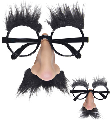 GLASSES W/NOSE TACHE & BROWS - 2 colours