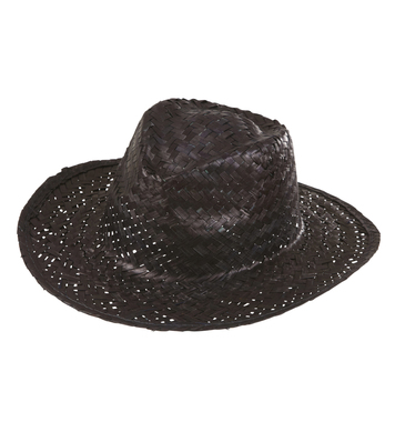 COWBOY HAT STRAW - BLACK