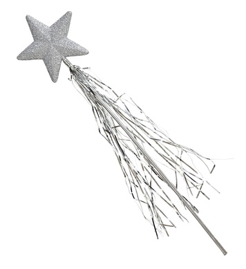 GLITTER STAR WAND WITH TINSEL 46cm - SILVER
