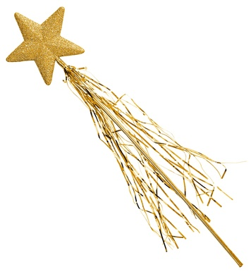 GLITTER STAR WAND WITH TINSEL 46cm - GOLD