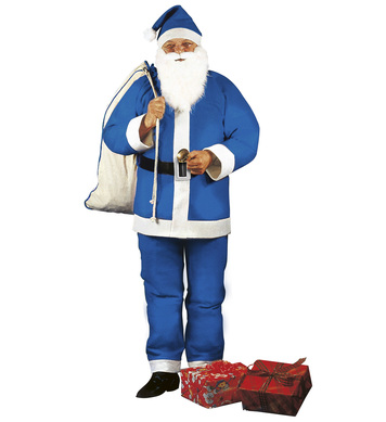 BLUE SANTA CLAUS (jacket pants belt hat beard w/tash)
