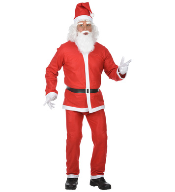 RED SANTA CLAUS (jacket pants belt hat beard w/tash)