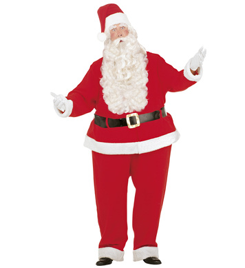 FAT SANTA CLAUS COSTUME (wire hoop jumpsuit jacket belt hat)