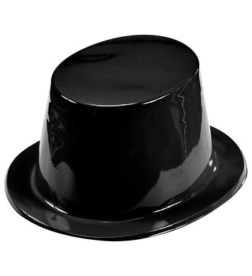 BLACK TOPPER HAT PLASTIC