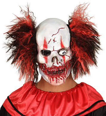 BLOODY MOUTH CLOWN MASK W/HAIR