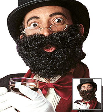 DELUXE BEARD WITH MOUSTACHE - black/brown