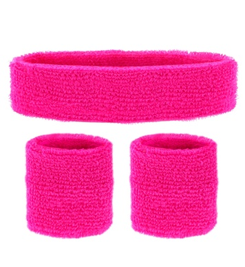 SWEATBAND SET - NEON PINK (headband 2 wristbands)