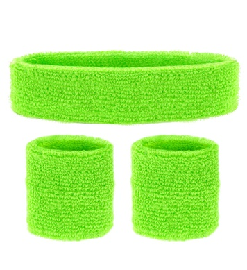 SWEATBAND SET - NEON GREEN (headband 2 wristband)