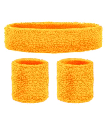 SWEATBAND SET - NEON ORANGE (headband 2 wristband)
