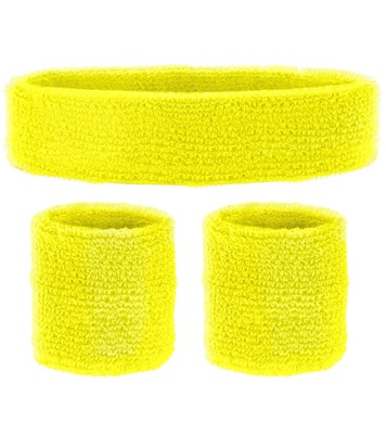 SWEATBAND SET - NEON YELLOW (headband 2 wristband)