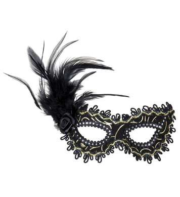 BLACK EYEMASK W/ROSE FEATHERS & GOLD ACCENTS