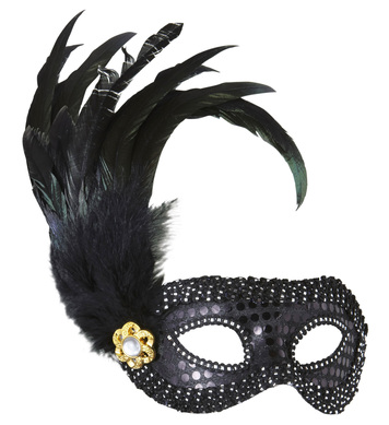 BLACK SEQUIN EYEMASK W/JEWEL & FEATHERS