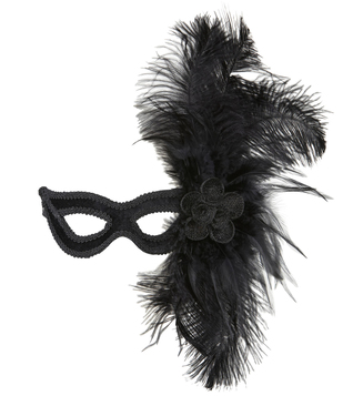 BLACK VELOUR EYEMASK W/ROSE & FEATHERS