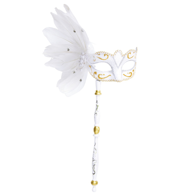 WHITE EYEMASK ON A STICK W/FEATHERS