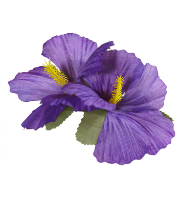 HIBISCUS 2 FLOWER HAIR CLIP - PURPLE