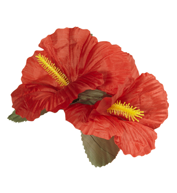 HIBISCUS 2 FLOWER HAIR CLIP - RED