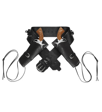 WESTERN DOUBLE HOLSTER BELT - BLACK