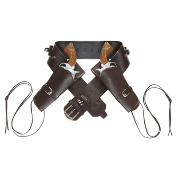 WESTERN DOUBLE HOLSTER BELT - BROWN