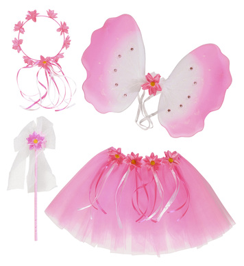 FLOWER FAIRY SET (tutu wings headpiece wand)