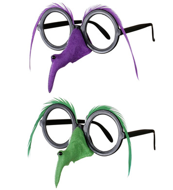 GLASSES W/WITCH NOSE & BROW - 2 colours