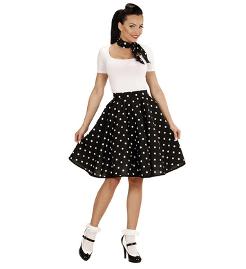 50s POLKA DOT SKIRT / SCARF SET - BLACK