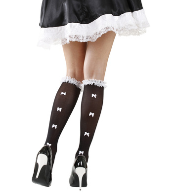 BLACK SOCKS W/ RUFFLE LACE TRIM & WHITE BOWS